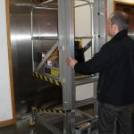 Deskglider in a personell or goods lift